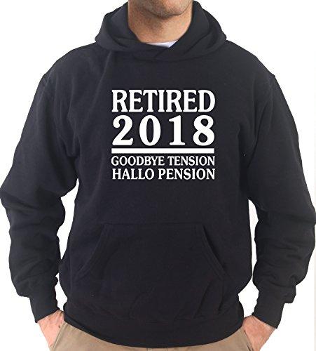Settantallora - Felpa Con Cappuccio KJ2367 Retired 2018 Goodbye Tension Hallo Pension Nero