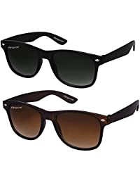 ELEGANTE Combo of 2 Wayfarer Men's Sunglasses (WYFBLKBRNCMB, 55, Black and Brown)