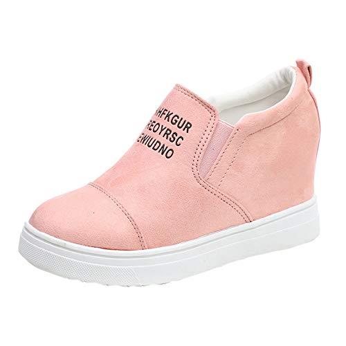 MYMYG Winter Schuhe für Damen Ankle Letter Zunehmende Keile Schuhe Kurze Stiefel Kurzschaft Casual Ankle Boot Slip-On Runde Runde Zehe Schuhe reizeit ()