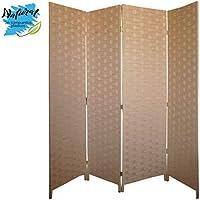 Biombo Color Natural, realizado en Papel Trenzado Bambú Natural, para Salón/Dormitorio, Patas de Acero Inoxidable - Hogar y Más - 4 Paneles