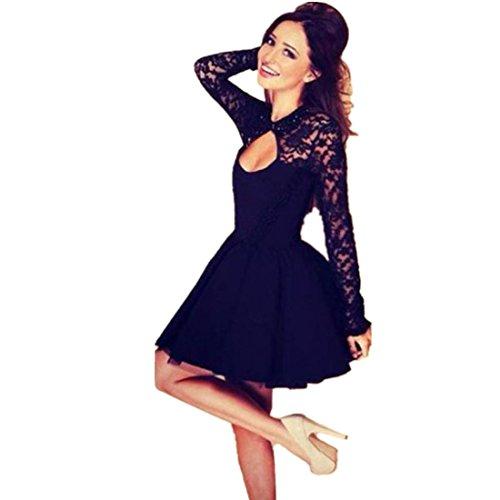 Vestido de mujer, Manadlian Vestido de manga larga mujer Vestido de noche sin espalda Mini vestido de fiesta (M, Negro)