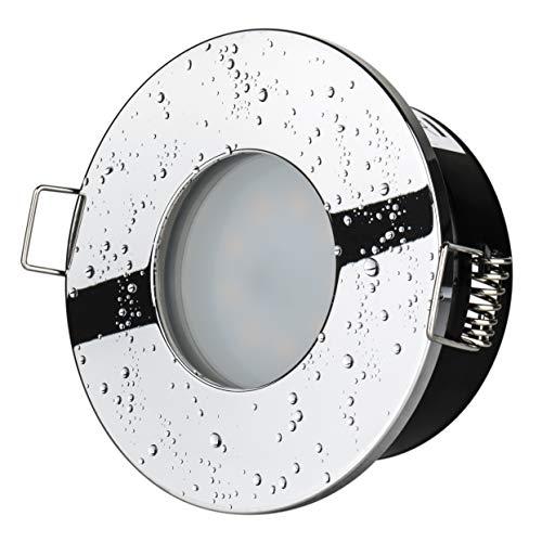 5Watt Bad Einbaustrahler Aqua 2.0 IP65 Chrom 230Volt GU10 400Lumen TÜV & GS Geprüft Badezimmer Dusche Vordach Keller Einbauspot -