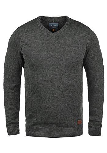 Blend Dansel Herren Strickpullover Feinstrick Pullover Mit V-Ausschnitt Und Melierung, Größe:L, Farbe:Charcoal (70818)