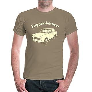buXsbaum Herren Unisex Kurzarm T-Shirt Bedruckt Pappenfahrer | Nostalgie Retro Fahrzeug | XL Khaki-Beige Beige