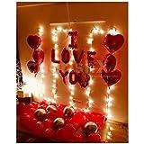 CherishX.COM Happy Anniversary Romantic Surprise Decoration kit with Heart Shaped foil Balloons, Led Lights, I Love You…
