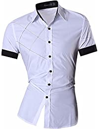 Jeansian Men's Fashion Short Sleeves Shirts Casual Slim Fit Dress Tops Pocket Office 8360