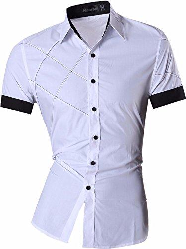 zeit Hemden Shirt Tops Mode Kurzarm Men's Casual Dress Slim Fit 8360 (USA XL (180-185cm 75kg-80kg), Z003White) (Herren 80's Kostüm Bilder)