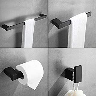 4-Piece Bathroom Hardware Set - Towel Bar Accessory Set Towel Hook Toilet Paper Holder Towel Ring Stainless Steel Wall Mounted, Black Painted