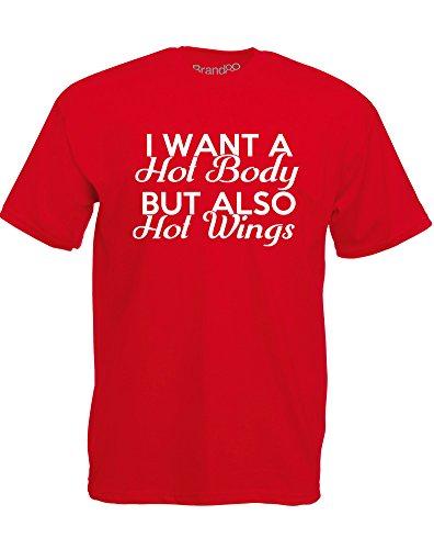 Brand88 - Brand88 - I Want a Hot Body, But..., Mann Gedruckt T-Shirt Rote/Weiß