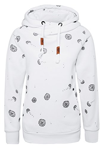 Sublevel Damen Sweathoodie - Pusteblume | Allover Print Kapuzenpullover | Basic Hoodie aus hochwertiger Baumwolle mit Aufdruck White