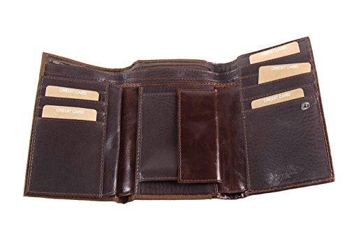 Portafoglio donna HARVEY MILLER marrone apertura bottone con portamonete A4665