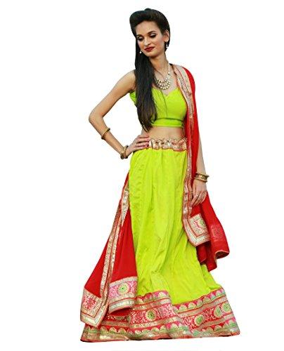 Women Wedding Wear Gota Patti Broad Border Lehenga Choli(Green_Color Free_Size)