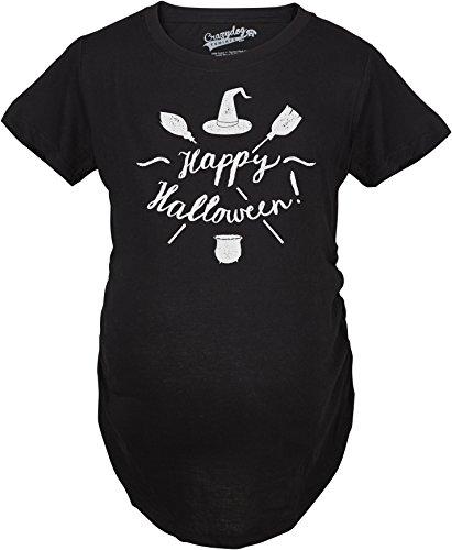 ternity Happy Halloween Witch Hat and Brooms Pregnancy Announcement T Shirt (Black) 3XL - Damen - 3XL (Mutter Und Sohn Halloween Kostüme)