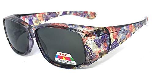 VeryHobby Polarisiert Fit über Sonnenbrillen Abdeckung Rx Gläser Strass Blumendrucke 57 Mittel Transparent Purple Butterfly