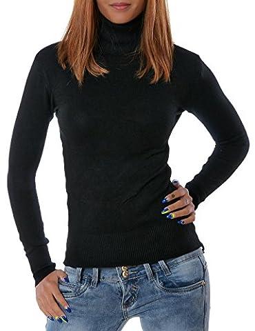 Damen Rollkragen Pullover (weitere Farben) No 13452, Farbe:Schwarz;Größe:One Size