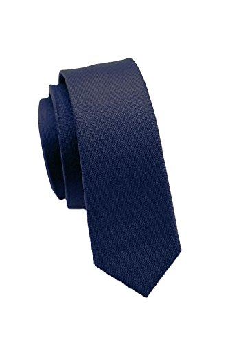 PARSLEY Extra schmale Krawatte, 24 verschiedene Farben, reine Seide, 4 cm, matt, Handarbeit, Skinny / Slim Tie, Business & Alltag (Dunkelblau)