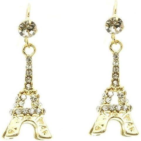 Glamorous Oro Tono 3d Torre Eiffel de París Francia Tema Dangle Pendientes Cristales de 3lados