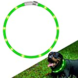 collare di cane a LED lampeggiante con USB ricaricabile e misura Small Medium Large da 27.5 pollici / 70 CM (verde)