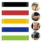 Lot de 5Bandes de résistance Bande Ruban Yoga, Pilates, Home Fitness Exercice Formation Fitness pour Yoga, Pilates, rééducation Sport Physio Gymnastique Bandes d'exercice