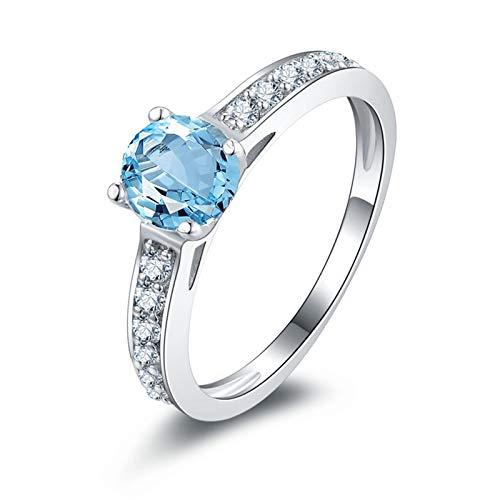 Bishilin Ringe Silber 925 Damen Hellblau Topaz Strass Ehering Hochzeitsring Silber Partnerring Gr.63 (20.1)