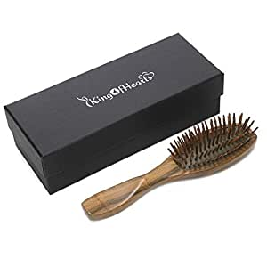 No tangle Professional Hair Brush - KingOfHearts™ Natural Green Sandalwood Hair Brushes with Wooden Pins Handmade Wood Bristle Massage Comb and Aromatic Scent for Detangling Curly Hair - No Static Air Bag Hairbrush
