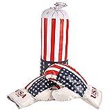 Aurora Store.it Sacco Boxe con guantoni con Bandiera Americana Gioco per Bambini Set Box per Pugilato Allenamento con Sacco da Appendere