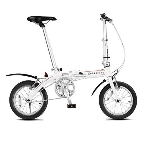Cross- & Trekkingräder Fahrrad faltendes Fahrrad Unisex Mini erwachsenes Fahrrad tragbares kleines Radfahrrad (Color : Weiß, Size : 115 * 27 * 80cm)