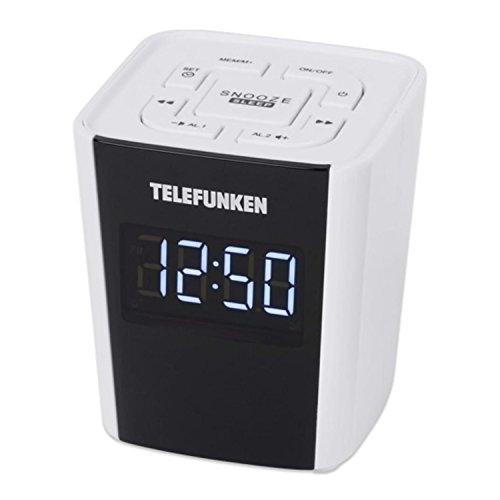 Telefunken Uhrenradio R1000   weiß   12/ 24h Anzeige   Radiowecker   UKW und digitaler PLL Tuner   Schlummertaste