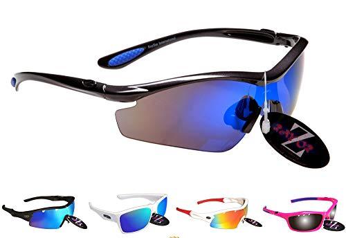 Rayzor Professionelle Leichte UV400 Gun Metall Grau Sports Wrap Laufen Sonnenbrille, mit einem blauen Iridium Mirrored Blend Lens. -