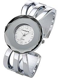 JSDDE Womens Fashion Elegant Cuff Bangle Analog Quartz Arabic Numeral Bracelet Watch 7''-Silver Tone