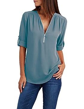 GUOCU Camicia Donna OL Elegante Maniche 3/4 Bluse Maglia Casual Chiffon Shirt Sexy V Scollo Tops Primavera Estate...