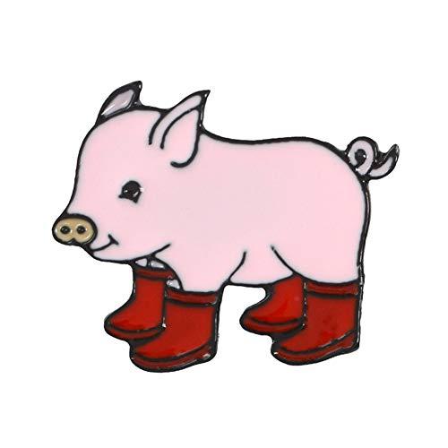 Kawaii Cartoon Animal Pig Rain Boots Alloy Enamel Brooch Pin Badge Party Geschenk -