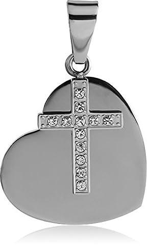 Simple et délicat Argenté Pendentif en forme de cœur et faux diamant Croix Collier 22cm Chaîne d'ancre