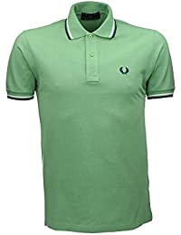 Fred Perry Polo-camiseta con cuello de rayas, colour verde, color Verde, talla 44