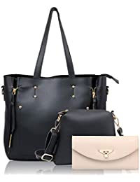 WOMEN MARKS Women's PU Handbag Combo (Black)