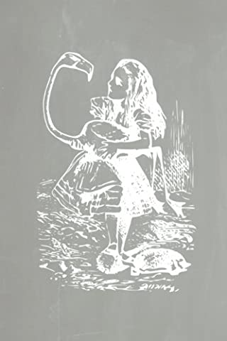Alice in Wonderland Pastel Chalkboard Journal - Alice and The Flamingo (Grey): 100 page 6