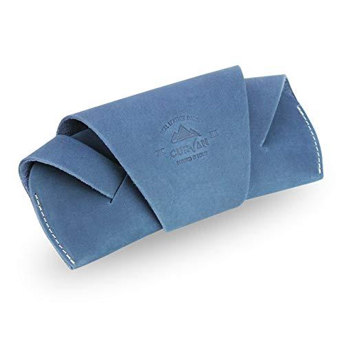CURVAN - Brillenetui aus 100% Echtes Leder Unisex Damen Herren | Soft-Case | Handgefertigt Sonnenbrillen-Etui Cover Ledertasche | Brillentasche Tasche Hülle Schutz Brille Lesebrillen | Blau