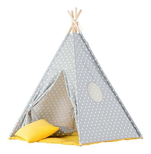 wigiwama Teepee Dots grau mit gelb matte (Kleinkind Bettwäsche Dots)