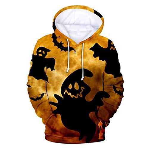 Baiomawzh Kapuzenpullover Hooded Pullover Herren Halloween Kostüm Unisex Gothic Punk Stil Lange Ärmel 3D Teufel Printed Drawstring Lässige Pocket Sweatshirt Sweatjacke Outwear Oberteil