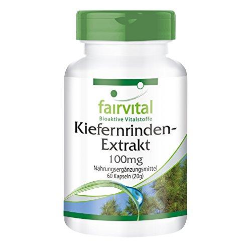 Kiefernrinden Extrakt Kapseln 100mg - VEGAN - HOCHDOSIERT 60 Kapseln - standardisiert auf 95% Proanthocyanidine