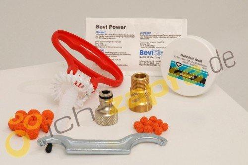ich-zapfe.de 443574 Reinigungsset für Zapfanlagen und Keg, klein mit 30 mm Reinigungsadapter, verschiedene, silber / gold / orange, 25 x 15 x 10 cm, 8 Einheiten