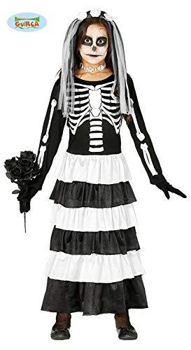 Guirca Braut Skelett Kinder Kostüm für Halloween Mädchen Halloweenkostüm Gr. 98 -146, Größe:140/146