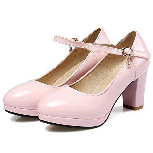 TAOFFEN Femmes Solid Bride Cheville Escarpins pink