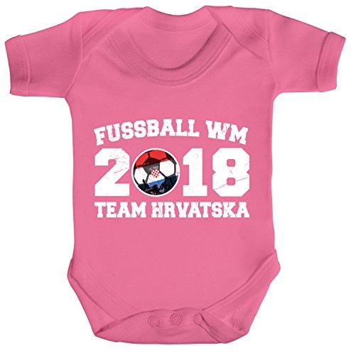 ShirtStreet Kroatien Croatia Fußball WM Fanfest Gruppen Strampler Bio Baumwoll Baby Body kurzarm Jungen Mädchen Team Hrvatska, Größe:...