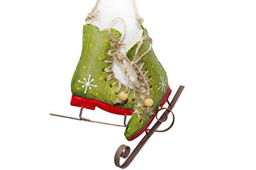 Weihnachts Deko Hänger Schlittschuhe grün oder rot Metall Sisal 10 x 10 cm