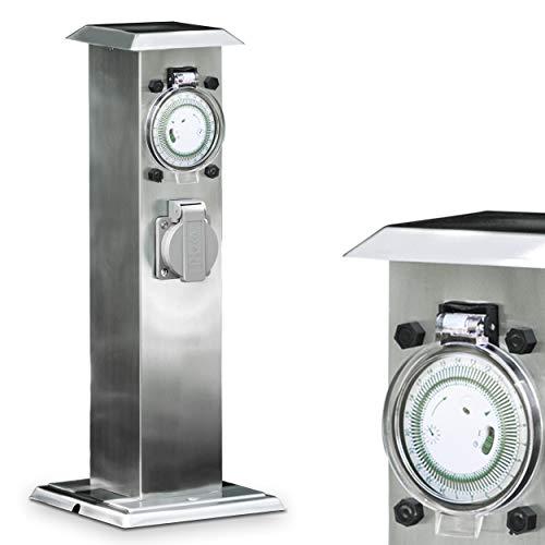 Edelstahl Außensteckdosensäule mit 24 Stunden Zeitschaltuhr und 2 Steckdosen verbaut in einer Steckdosensäule (Zeitschaltuhren Für Die Außenbeleuchtung)
