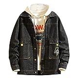 UOWEG Mantel Herren New Herbst Winter Langarm-Hemd mit Kapuze Mode Freizeitjacke Outwear Reine Farbe Tooling Denim Cardigan Mantel Top Blusen -