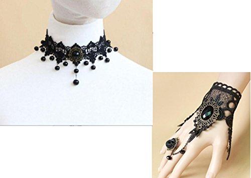 Artifice® Exaggerate elegant temperament deserve Lace rhinestone choker & Rhinestone Drop Black...