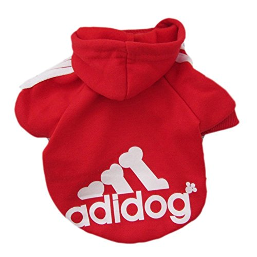 Zehui Sweater / Kapuzenpullover für Hunde, Aufschrift 'Adidog', L, Rot
