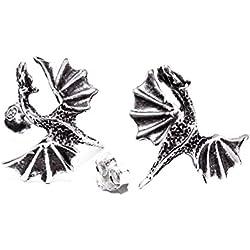 windalf grandes pendientes Dragon H: 1.8cm geflü gelter Dragón Plata de ley 925